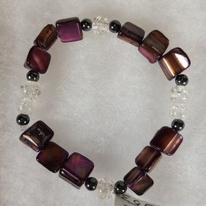 B53 Majenta Mother Of Pearl Stretch Bracelet